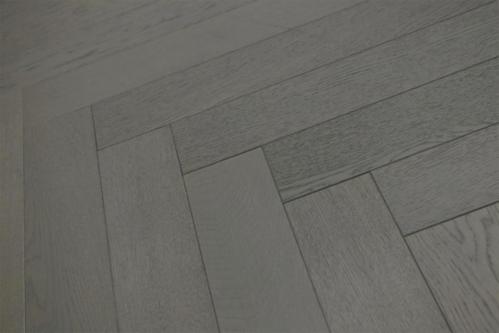 Natural Engineered Flooring Oak Herringbone Slate Grey Brushed UV Lacquered 15/4mm By 90mm By 600mm