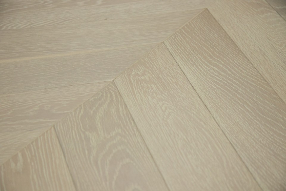 Prime Engineered Flooring Oak Chevron Sunny White Brushed UV Oiled 15/4mm By 90mm By 610mm FL3006 1