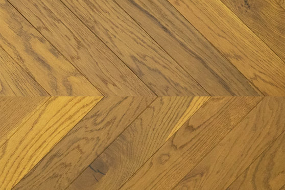 Natural Engineered Flooring Oak Chevron Light Smoked Brushed UV Oiled 15/4mm By 90mm By 600mm FL3641 1