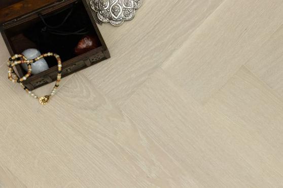 Prime Engineered Flooring Oak Herringbone Polar White Brushed UV Matt Lacquered 14/3mm By 98mm By 490mm FL4122 0
