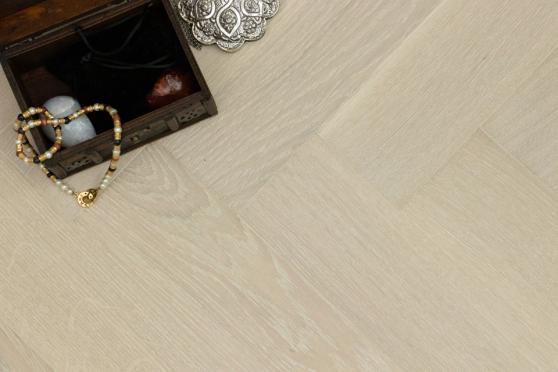 Prime Engineered Flooring Oak Herringbone Polar White Brushed UV Matt Lacquered 14/3mm By 98mm By 790mm FL3937 4