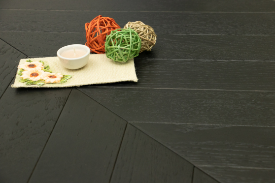 Natural Engineered Flooring Oak Chevron Jet Black Light Brushed UV Lacquered 15/4mm By 90mm By 600mm FL3912 3