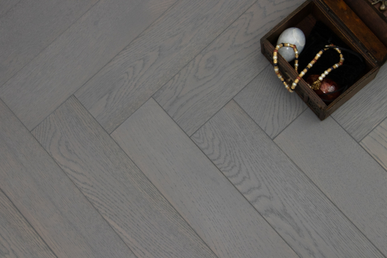 Natural Engineered Flooring Oak Herringbone Slate Grey Brushed UV Lacquered 15/4mm By 90mm By 600mm FL2917 1
