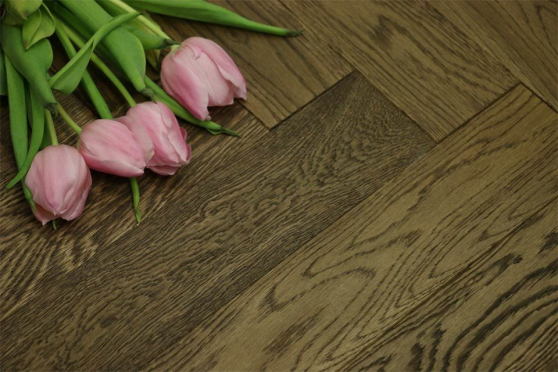 Natural Engineered Flooring Oak Herringbone Smoked Brushed UV Oiled 15/4mm By 90mm By 630mm HB042 1