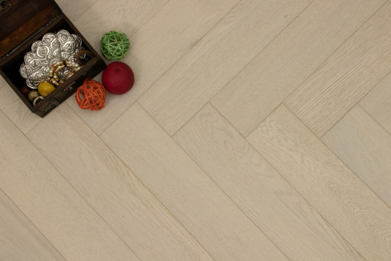 Natural Engineered Flooring Oak Herringbone White Pearl Brushed UV Lacquered 15/4mm By 90mm By 600mm FL2915 6