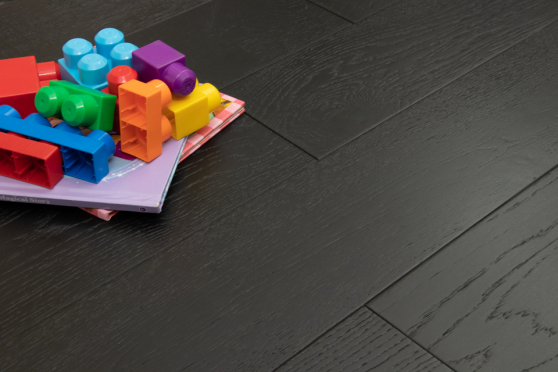 Rustic Engineered Flooring Oak Jet Black Brushed UV Lacquered 14/3mm By 190mm By 1900mm  FL3482 5