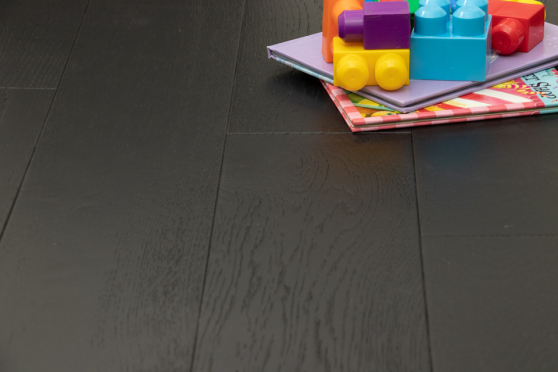 Natural Engineered Oak Jet Black Brushed UV Lacquered 14/3mm By 190mm By 400-1500mm FL1520 1