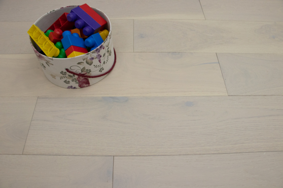 Natural Engineered Flooring Oak Double White Brushed UV Lacquered 14/3mm By 190mm By 400-1500mm FL2661 6