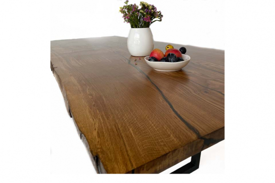 European Oak Table with Resin 35mm By 1020mm By 1520mm