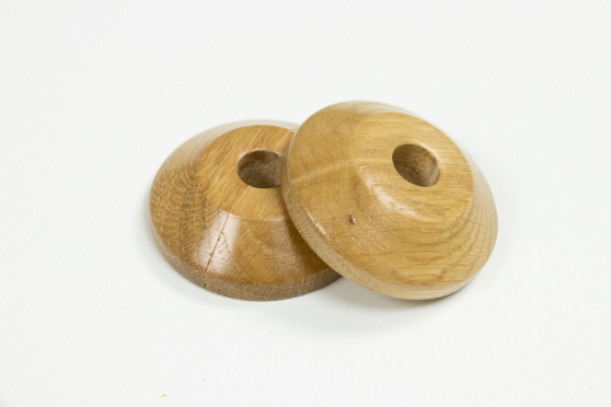 Pair of Oak Lacquered Pipe Covers 10mm