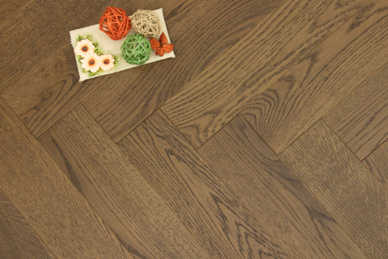 Prime Engineered Flooring Oak Herringbone Coffee Brushed UV Oiled 14/3mm By 98mm By 588mm FL3069 0