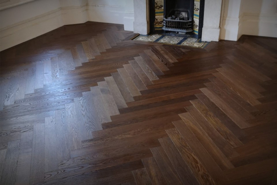 Prime Engineered Flooring Oak Herringbone Dark Smoked Brushed UV Oiled 14/3mm By 97mm By 790mm FL2455 1