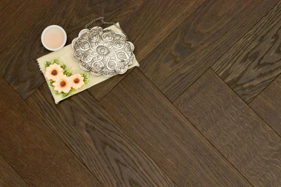 Prime Engineered Flooring Oak Herringbone Dark Smoked Brushed UV Oiled 14/3mm By 97mm By 790mm FL2455 1