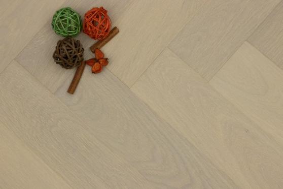 Prime Engineered Flooring Oak Herringbone Double White Brushed UV Matt Lacquered 14/3mm By 98mm By 490mm FL4056 0