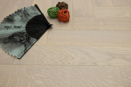 Prime Engineered Flooring Oak Herringbone White Brushed UV Oiled Eco 14/3mm By 98mm By 790mm FL4063 0