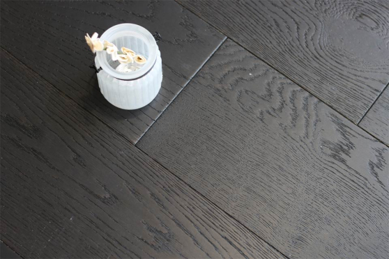 Rustic Engineered Flooring Oak Jet Black Brushed UV Lacquered 10/3mm By 150mm By 600-1200mm FL2781 1