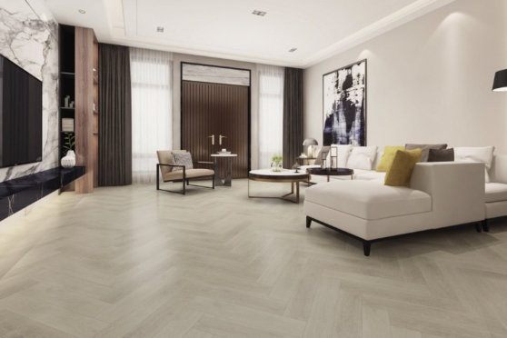Luxury Click Vinyl Rigid Core Herringbone Flooring Pure White 6mm By 126mm By 630mm( include 1mm underlay) VL042 2