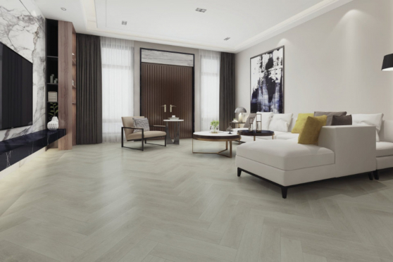 Luxury Click Vinyl Rigid Core Herringbone Flooring Pure White 6mm By 126mm By 630mm( include 1mm underlay) VL042 4