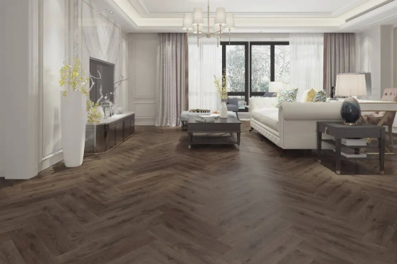 Luxury Click Vinyl Rigid Core Herringbone Flooring Cacao Brown 6mm By 126mm By 630mm( include 1mm underlay) VL044 1