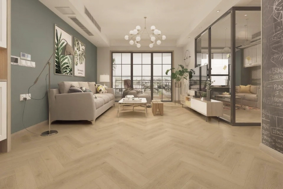 Luxury Click Vinyl Rigid Core Herringbone Flooring Nature 6mm By 126mm By 630mm( include 1mm underlay) VL045 8