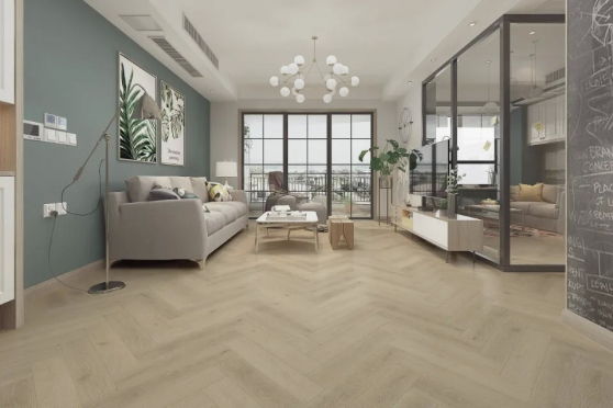 Luxury Click Vinyl Rigid Core Herringbone Flooring Nature 6mm By 126mm By 630mm( include 1mm underlay) VL045 0