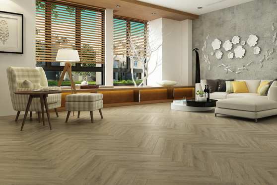 Luxury Click Vinyl Rigid Core Herringbone Flooring Olive 6mm By 100mm By 600mm (include 1mm underlay) VL050 2