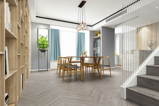 Luxury Click Vinyl Rigid Core Herringbone Flooring Cotton Wood 6mm By 100 By 600mm (include 1mm underlay) VL051 1