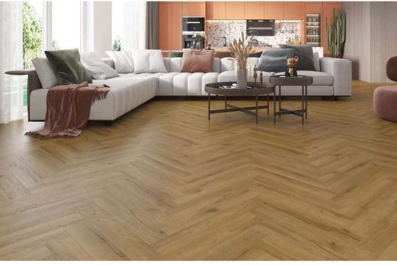 Luxury Click Vinyl Rigid Core Herringbone Flooring Nature 6mm By 100mm By 600mm (include 1mm underlay)