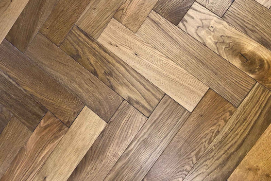 Natural Engineered Flooring Oak Herringbone Whiskey Smoked Brushed UV Matt Lacquered 13/4mm By 90mm By 600mm FL4041 5