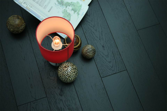 Rustic Engineered Flooring Oak Jet Black Brushed UV Lacquered 14/3mm By 190mm By 1900mm