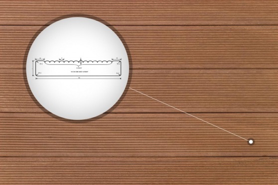 Yellow Balau Reeded Decking Boards 19mm By 90mm By 1500mm DK067-1500 1